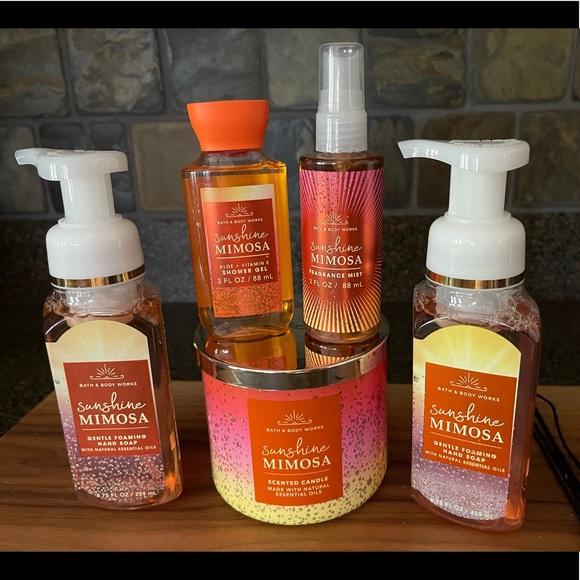 BBW SUNSHINE MIMOSA 5 Pc Candle Soap Body Care Set